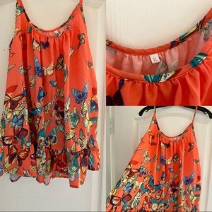 Coral top with butterflies